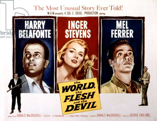 THE WORLD, THE FLESH AND THE DEVIL, Harry Belafonte, Inger Stevens, Mel Ferrer, 1959
