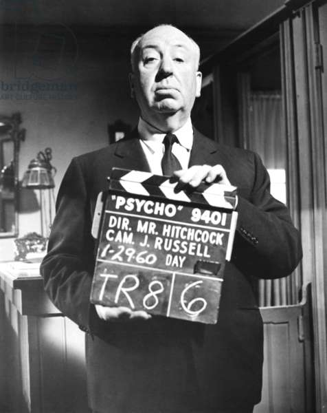 PSYCHO, Alfred Hitchcock on set, 1960