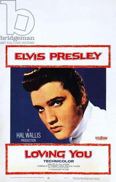 LOVING YOU, Elvis Presley on window card, 1957.