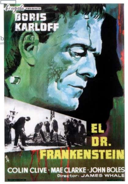 FRANKENSTEIN (aka EL DR. FRANKENSTEIN), top:  Boris Karloff on Spanish poster art, 1931.