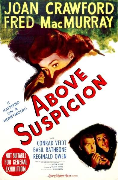 Un espion a disparu: ABOVE SUSPICION, poster art, Joan Crawford (top and bottom right), Fred MacMurray, 1943