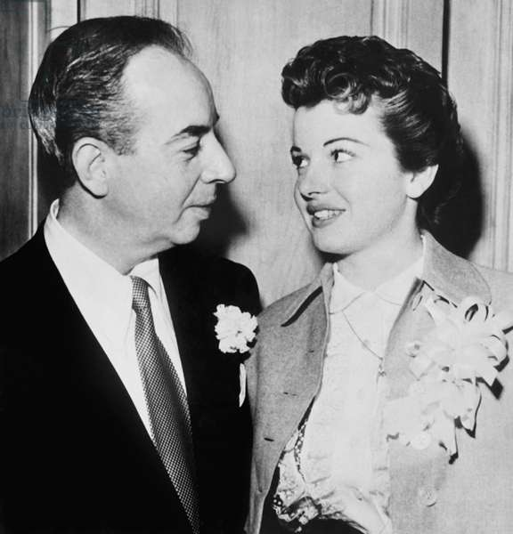 From left: Vincente Minnelli, Gorgette Martell Minnelli immediately after their wedding, 1954