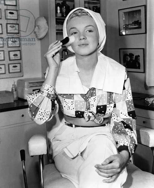 Starlet Marilyn Monroe, in the Columbia makeup department, ca. 1948