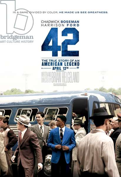 42, (aka FORTY-TWO), US advance poster art, Chadwick Boseman as Jackie Robinson (blue jacket), 2013. ©Warner Bros. Pictures/courtesy Everett Collection