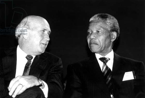 South Africa President F.W. de Klerk meeting with Nelson Mandela