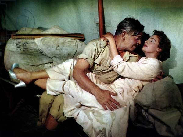 MOGAMBO, Clark Gable, Ava Gardner, 1953, embracing in a tent