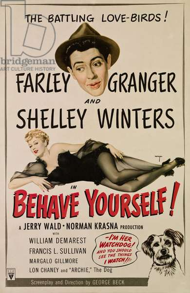 Symphonie en 6.35: BEHAVE YOURSELF!, from top, Farley Granger, Shelley Winters, 1951