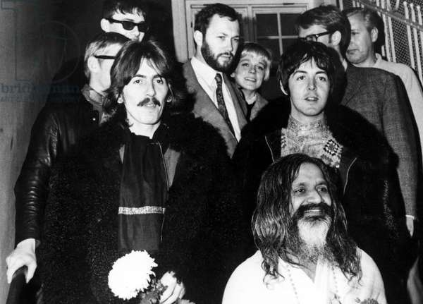 Mahareshi Mahesh Yogi followed by George Harrison, Peter Brown (legal representative for the Beatles), Paul McCartney, 1967