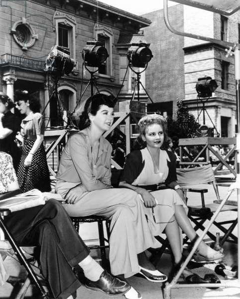 MY SISTER EILEEN, Rosalind Russell, Janet Blair, between scenes, on set, 1942