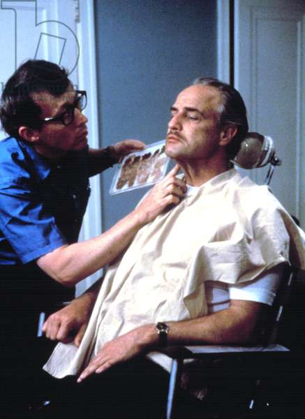 Marlon Brando being made up for his role in THE GODFATHER, 1972