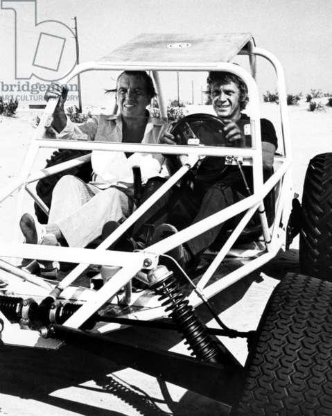 THE REIVERS, Ed Sullivan, Steve McQueen on set, 1969