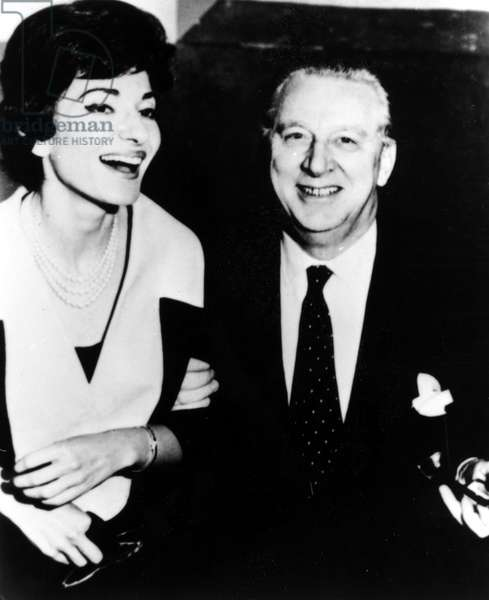 Maria Callas and President of EMI Records, Walter Legge. Circa early 1960s.