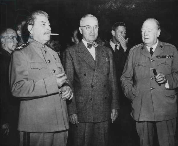 The 'Big Three' leaders of the Allies fighting against the Axis nations of World War 2. L-R: Joseph Stalin, Harry Truman, and Winston Churchill. July 18, 1945. - (BSLOC_2014_15_24): The 'Big Three' leaders of the Allies fighting against the Axis nations of World War 2. L-R: Joseph Stalin, Harry Truman, and Winston Churchill. July 18, 1945. - (BSLOC_2014_15_24)