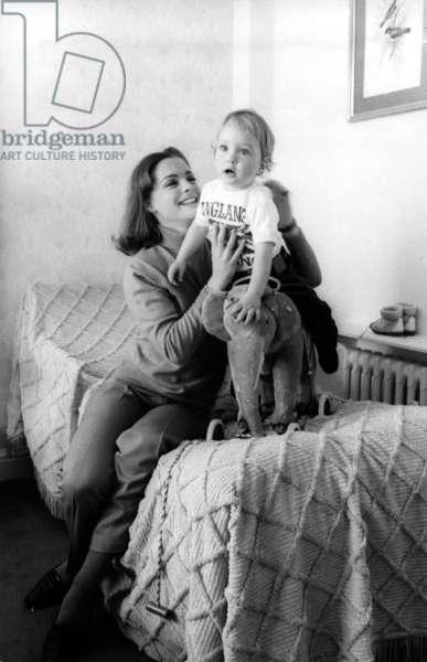 Romy Schneider with her son David Meyen in London before filming OTLEY, 1968