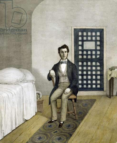 Passmore Williamson: Abolitionist Passmore Williamson, in his Prison cell for violating the Fugitive Slave Law of 1850. With others Williamson freed three slaves from their socially prominent owner and helped them to safety. He convicted of contempt of court for withholding testimony about the incident. His five month imprisonment caused a sensation and his visitors included Frederick Douglass and Harriet Tubman.