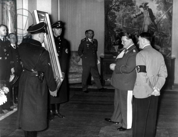 THE RAPE OF EUROPA, Adolf Hitler (right), presenting a painting (one by Hans Makart that Hitler had bought legitimately) to Hermann Goering (second from right), 2006. ©Actual Films/courtesy Everett Collection