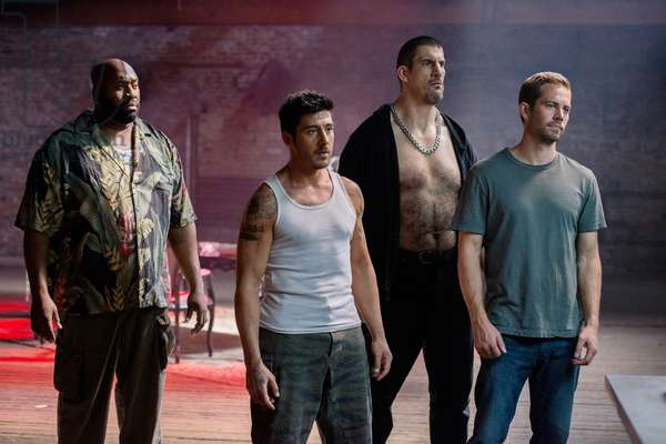 Brick Mansions: BRICK MANSIONS, from left: Gouchy Boy, David Belle, Robert Maillet, Paul Walker, 2014. ph: Philippe Bosse/©Relativity Media/courtesy Everett Collection