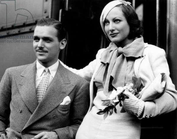 Douglas Fairbanks, Jr. with wife Joan Crawford c. 1932.
