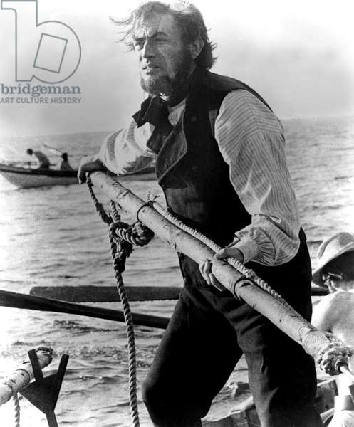 MOBY DICK, Gregory Peck, 1956, with whaling harpoon