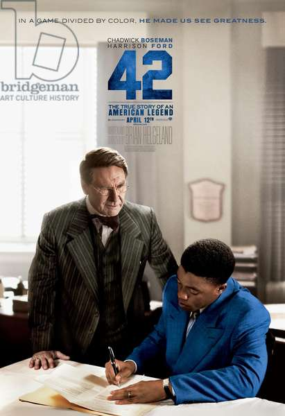 42, (aka FORTY-TWO), US advance poster art, from left: Harrison Ford, Chadwick Boseman as Jackie Robinson, 2013. /©Warner Bros. Pictures/courtesy Everett Collection
