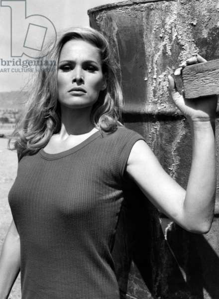 Ursula Andress: SHE, Ursula Andress at an Israeli resort while on location in Israel, 1965