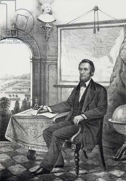 Abraham Lincoln: Popular print of President Lincoln made during his first term. He is shown writing, perhaps a reference to the Emancipation Proclamation, with a map of the Union, and troops drilling in the distance. Ca. 1862-64.