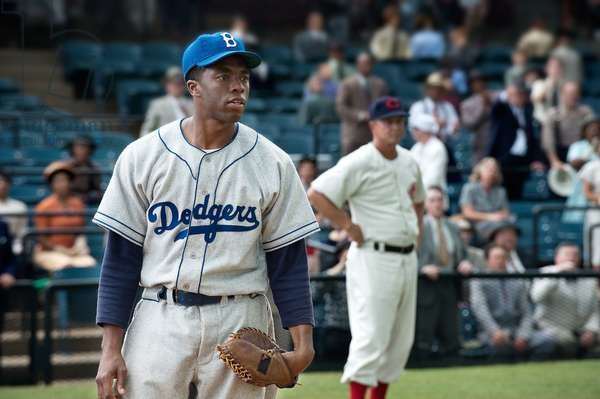 """""""42"""" by Brian Helgeland: 42, (aka FORTY-TWO), Chadwick Boseman as Jackie Robinson, 2013. Ph: D. Stevens/©Warner Bros. Pictures/courtesy Everett Collection"""