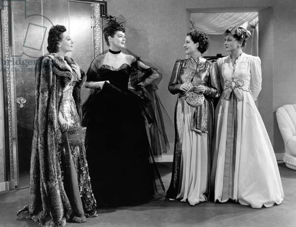 Femmes: THE WOMEN, from left, Joan Crawford, Rosalind Russell, Norma Shearer, Joan Fontaine, all in dresses by Adrian, 1939