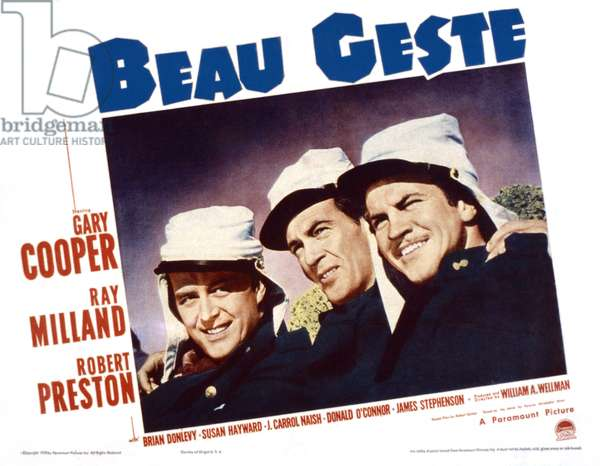 BEAU GESTE, from left, Ray Milland, Gary Cooper, Robert Preston, 1939