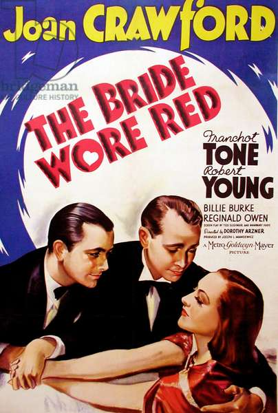 L'inconnue du palace: THE BRIDE WORE RED, l-r: Robert Young, Franchot Tone, Joan Crawford on poster art, 1937