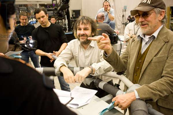 THE ADVENTURES OF TINTIN, front from left: producer Peter Jackson, director Steven Spielberg on set, 2011, Ph: Andrew Cooper, © Paramount/courtesy Everett Collection