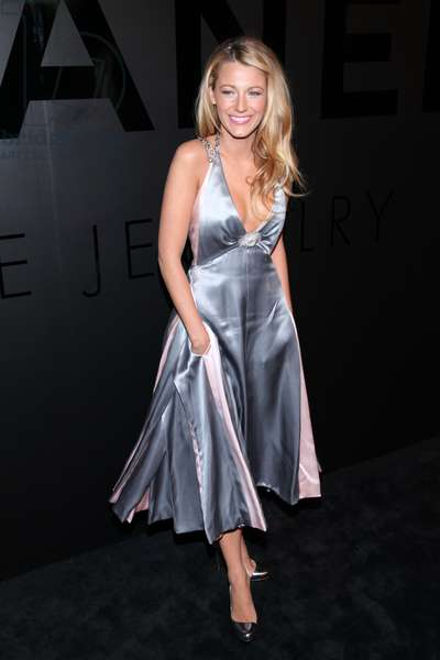 Blake Lively (wearing a Chanel dress) in attendance for Chanel Bijoux de Diamant 80th Anniversary, , New York, NY October 9, 2012. Photo By: Andres Otero/Everett Collection