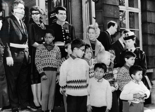 Josephine Baker, (second from left, back), traveling in Belgium with some of her adopted children, October 22, 1964