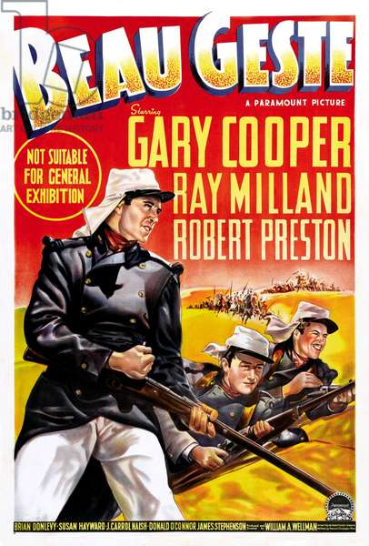 Beau Geste: BEAU GESTE, US poster art, from left: Gary Cooper, Ray Milland, Robert Preston, 1939