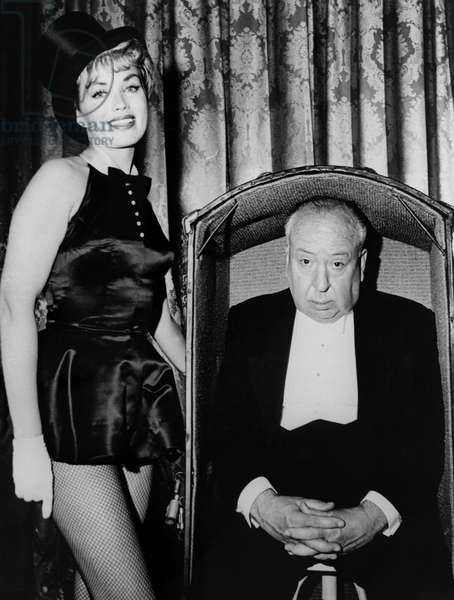 ALFRED HITCHCOCK PRESENTS, Alfred Hitchcock (right), 1955-1965, introducing an episode