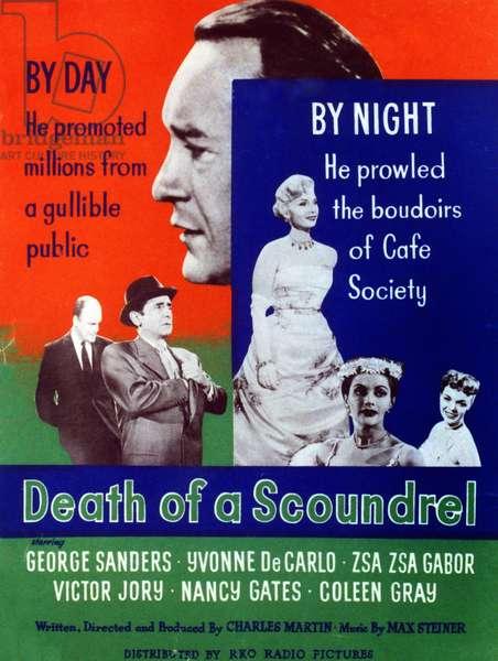 DEATH OF A SCOUNDREL: DEATH OF A SCOUNDREL, from left: Werner Klemperer, Victor Jory, George Sanders (top), Zsa Zsa Gabor, Yvonne De Carlo, Nancy Gates, 1956