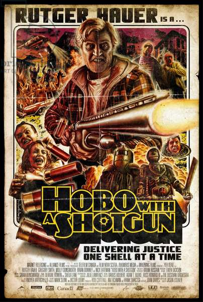 HOBO WITH A SHOTGUN: HOBO WITH A SHOTGUN, US poster art, Rutger Hauer (top center), Robb Wells (right, head in manhole cover), 2011. ©Magnet Releasing/courtesy Everett Collection