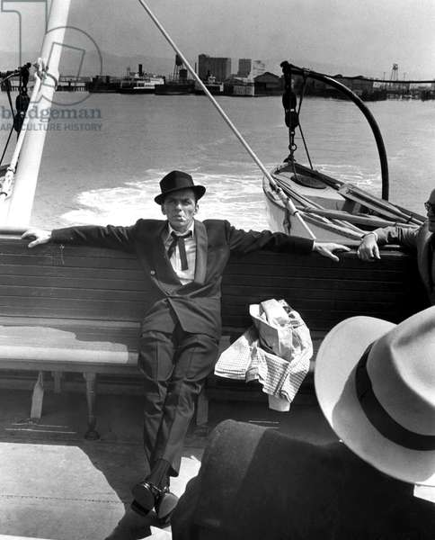 Frank Sinatra riding the San Francisco ferry on location for PAL JOEY, 1957