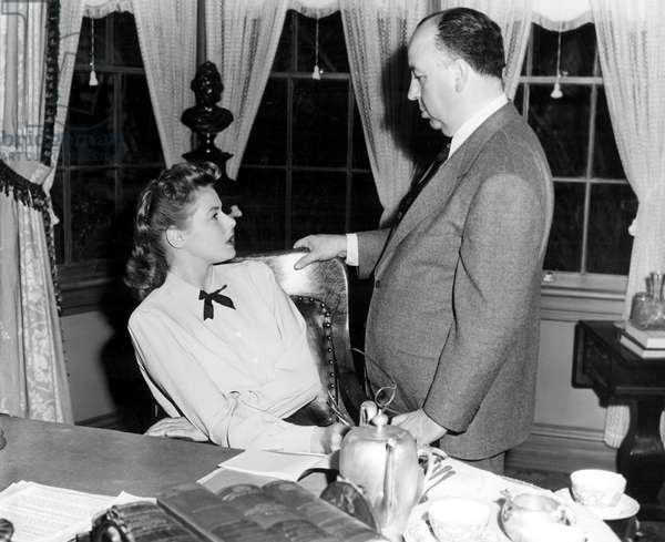 SPELLBOUND, Ingrid Bergman, 1945, on the set with Alfred Hitchcock