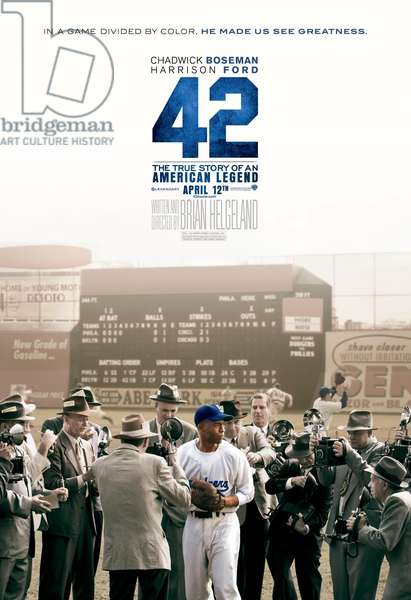 42, (aka FORTY-TWO), US advance poster art, Chadwick Boseman as Jackie Robinson, 2013. /©Warner Bros. Pictures/courtesy Everett Collection