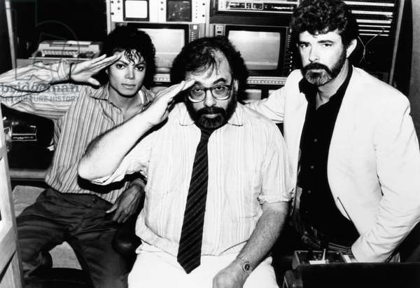 CAPTAIN EO, from left: Michael Jackson, director Francis Ford Coppola, executive producer George Luc
