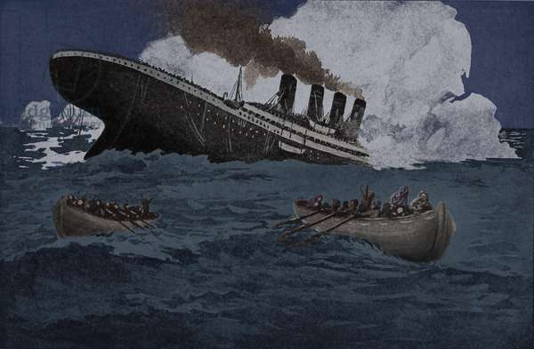Sinking of the Titanic. Contemporary illustration from a 1912 book SINKING OF THE TITANIC MOST APPALLING OCEAN HORROR by Jay Henry Mowbray with digital color. Photo: 7 Continents History/Everett Collection (BSIC_2011_10_4)
