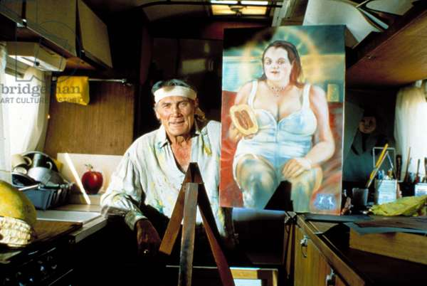 BAGDAD CAFE, Jack Palance with painting of Marianne Sagebrecht, 1987