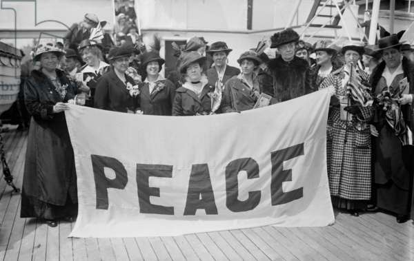 Jane Addams: Jane Addams (1860-1935), humanitarian and social activist leading a peace mission to Europe during World War I, April 1915