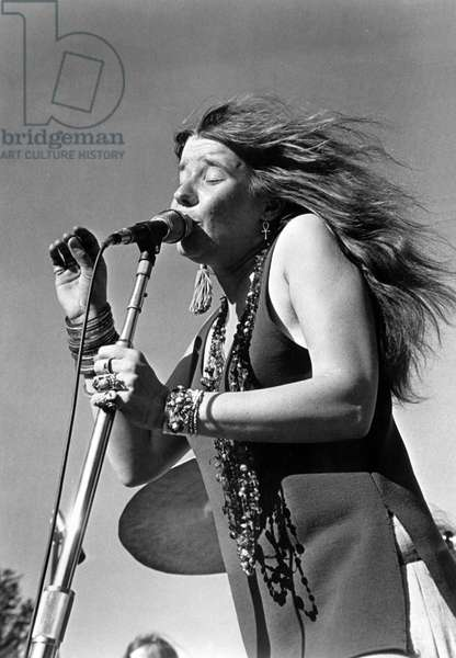 "JANIS JOPLIN, 1960s, from the documentary, ""Janis,"" released in 1975 (b/w photo)"