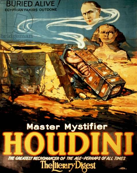 Harry Houdini: Poster promoting Harry Houdini (1874-1926), evoking mystical past of ancient Egypt. 1925.