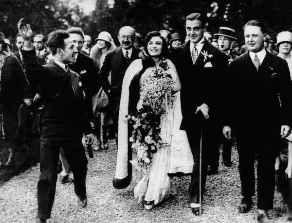 Wedding of Pola Negri, Serge Mdivani, May 14, 1927 (center, Pola Negri, Serge Mdivani)
