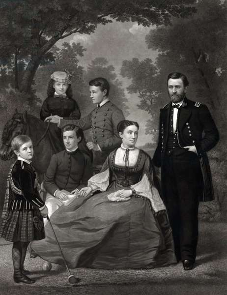 Ulysses S. Grant en famille: Ulysses S. Grant with his family when he was running for president in 1868. Left to right are: children Jesse, Nellie, Buck, and Fredrick, wife Julia, and General Grant. Frederick would have a successful military career, reaching the rank of general.