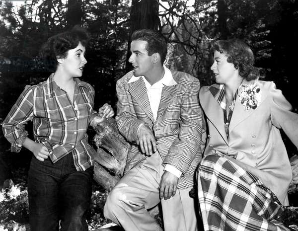Elizabeth Taylor, Montgomery Clift, Shelley Winters on location at Lake Tahoe, California for A PLACE IN THE SUN, 1951