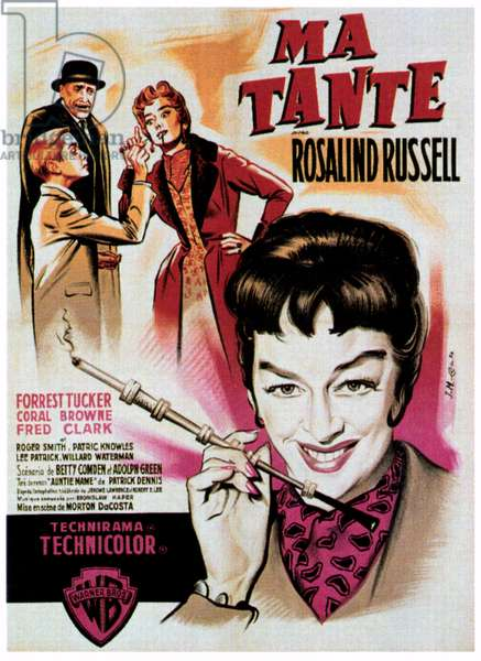 AUNTIE MAME (aka MA TANTE), right: Rosalind Russell on French poster art, 1958.